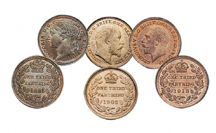Third Farthings for Victoria, Edward and George V